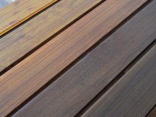 aluminum deck wood finish