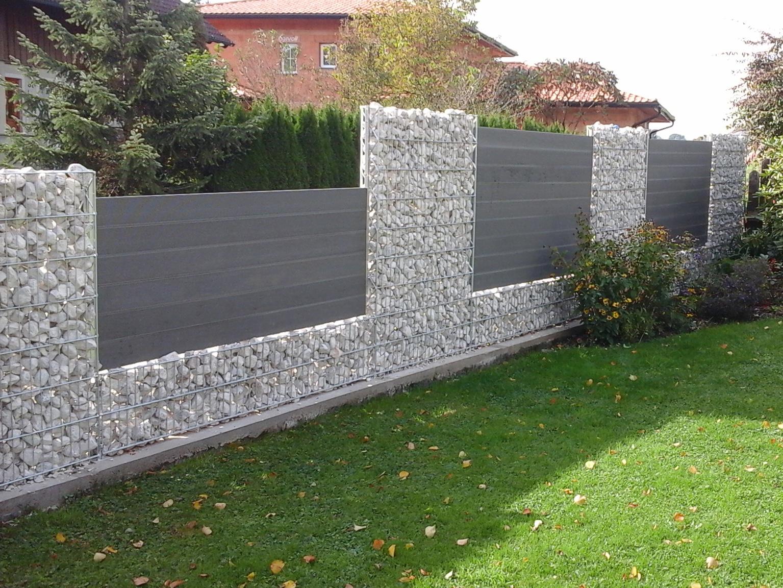 gabion wall, backyard fence, stone fence